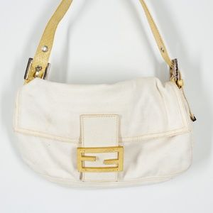 Fendi Vintage Zucca Baguette Yellow Shoulder Bag